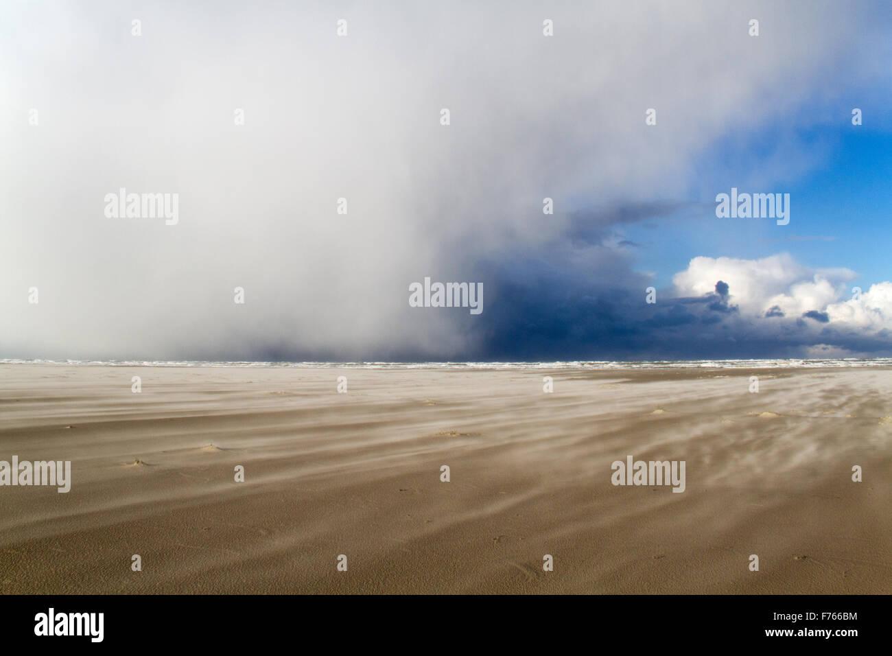 Einen wilden Tag am Strand: ein Sandsturm und tiefe Wolken über dem Meer, Schnee bringen Stockbild