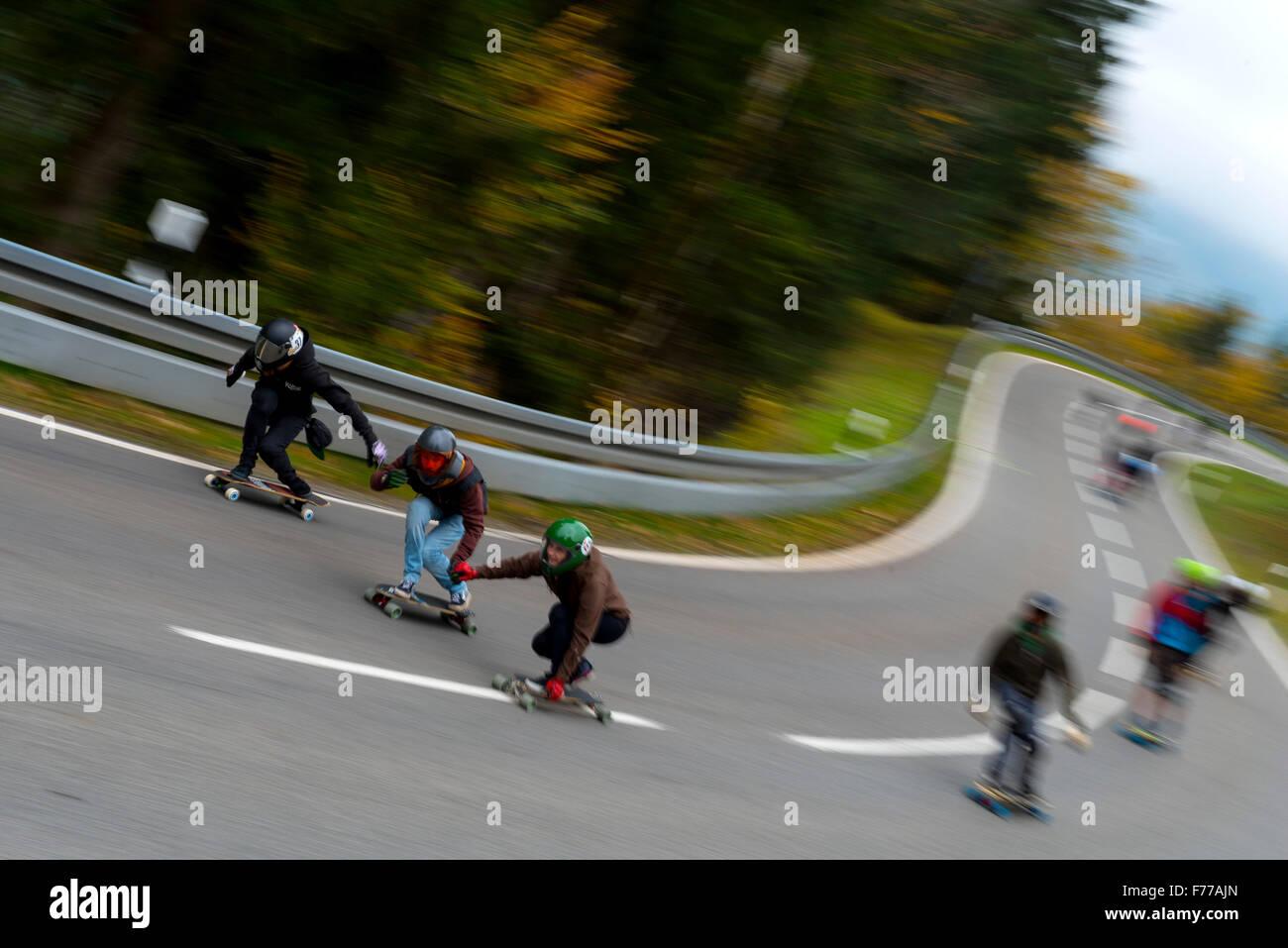 Abfahrt Scateboarders Stockfoto