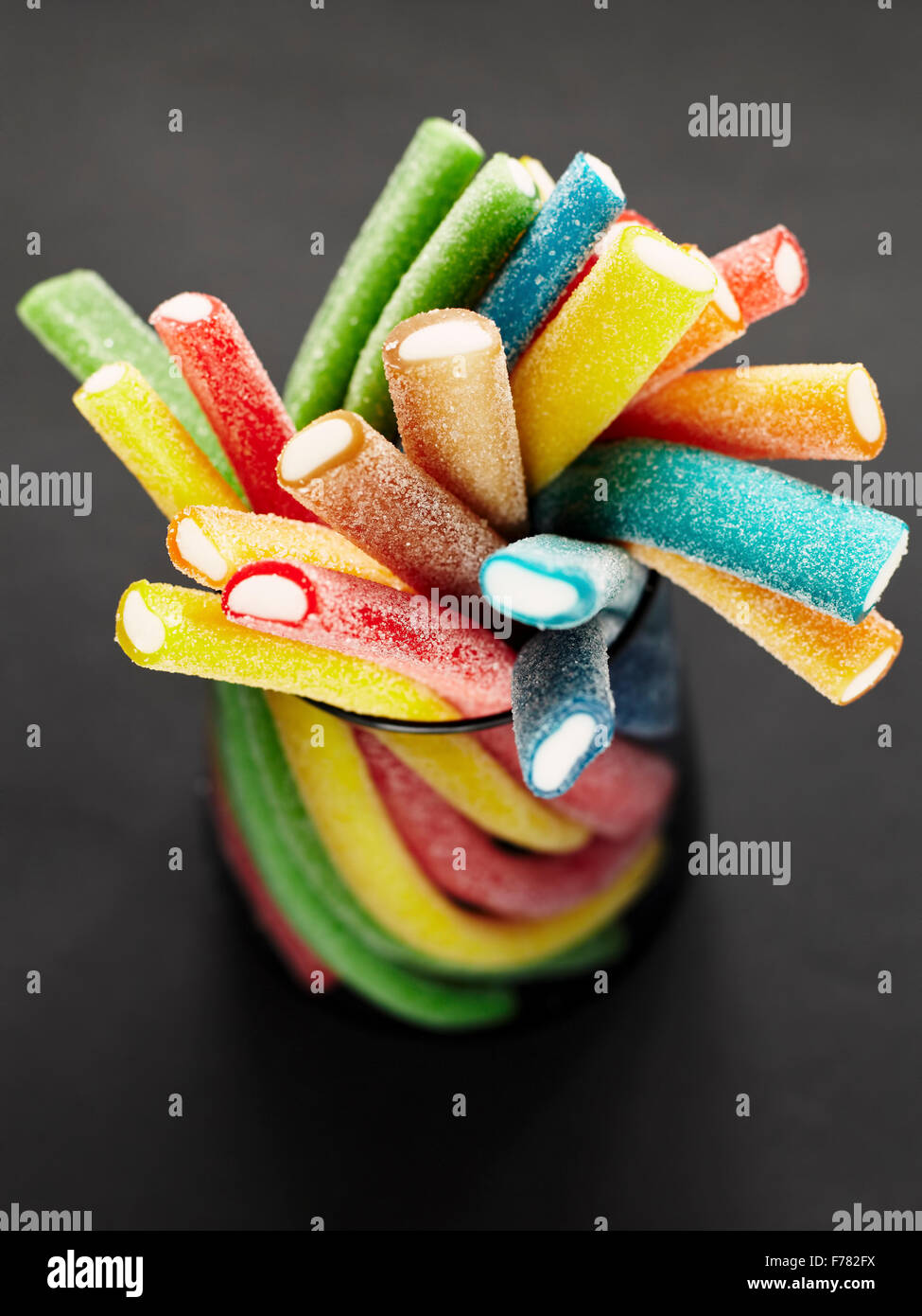 Stapel von farbigen gummy süße klebt Stockbild