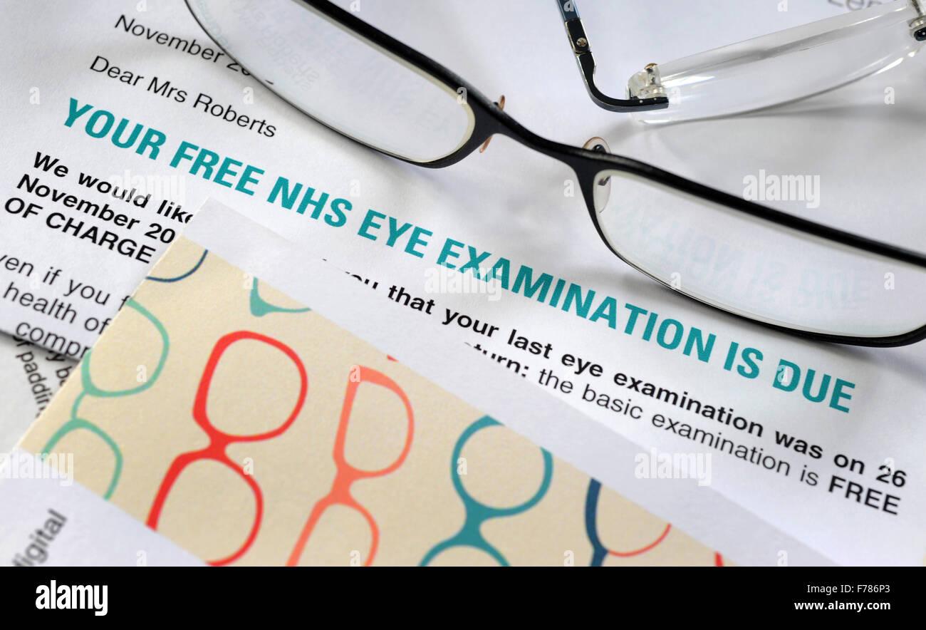 Auge Prüfung Mahnschreiben Mit Brille Re Nhs Augenlicht Test