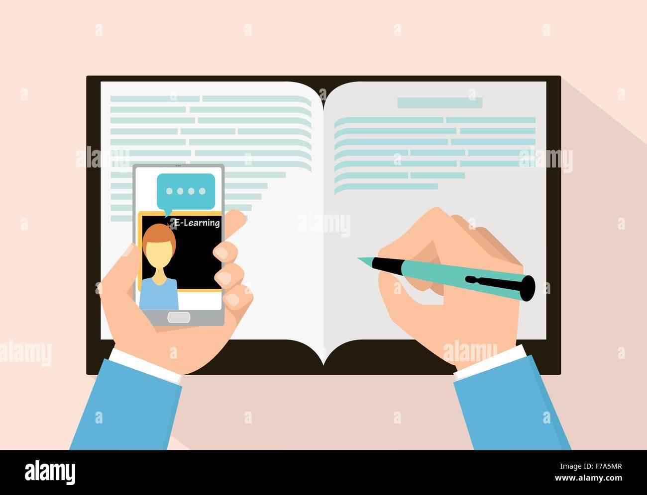 E-Learning-Konzepts mit Smartphone-Vektor-illustration Stockbild