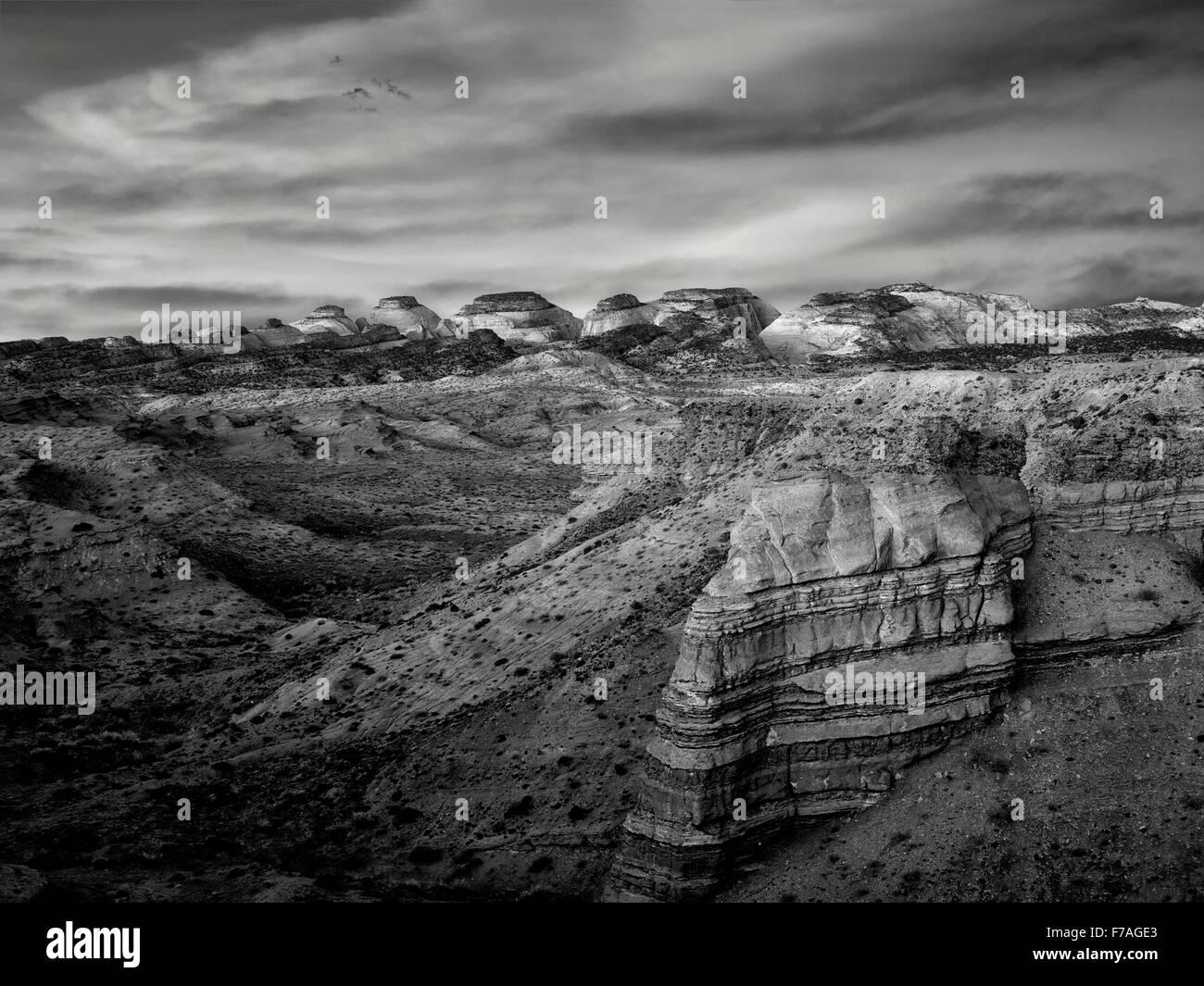 Sonnenaufgang auf der Hartnet Süd Wüste Waterpocket Fold. Capitol Reef National Park, Utah Stockbild