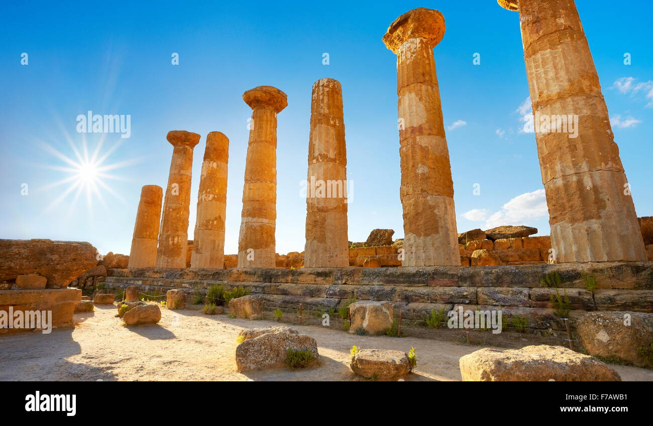 Tal der Tempel, Tempel des Herkules (Tempio di Eracle) UNESCO Agrigento, Sizilien, Italien Stockbild