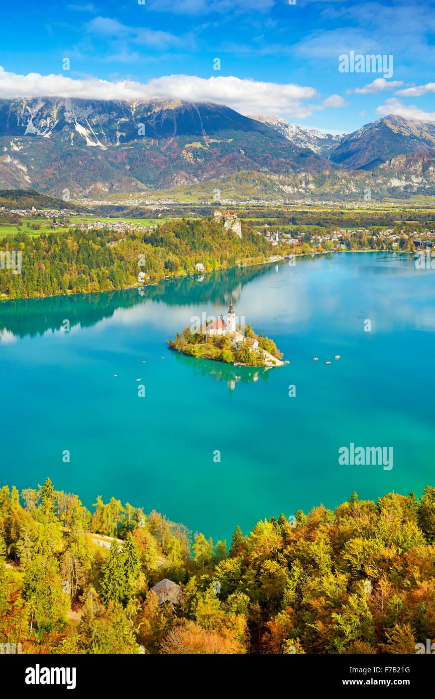 Herbst-See Bled Slowenien Stockbild