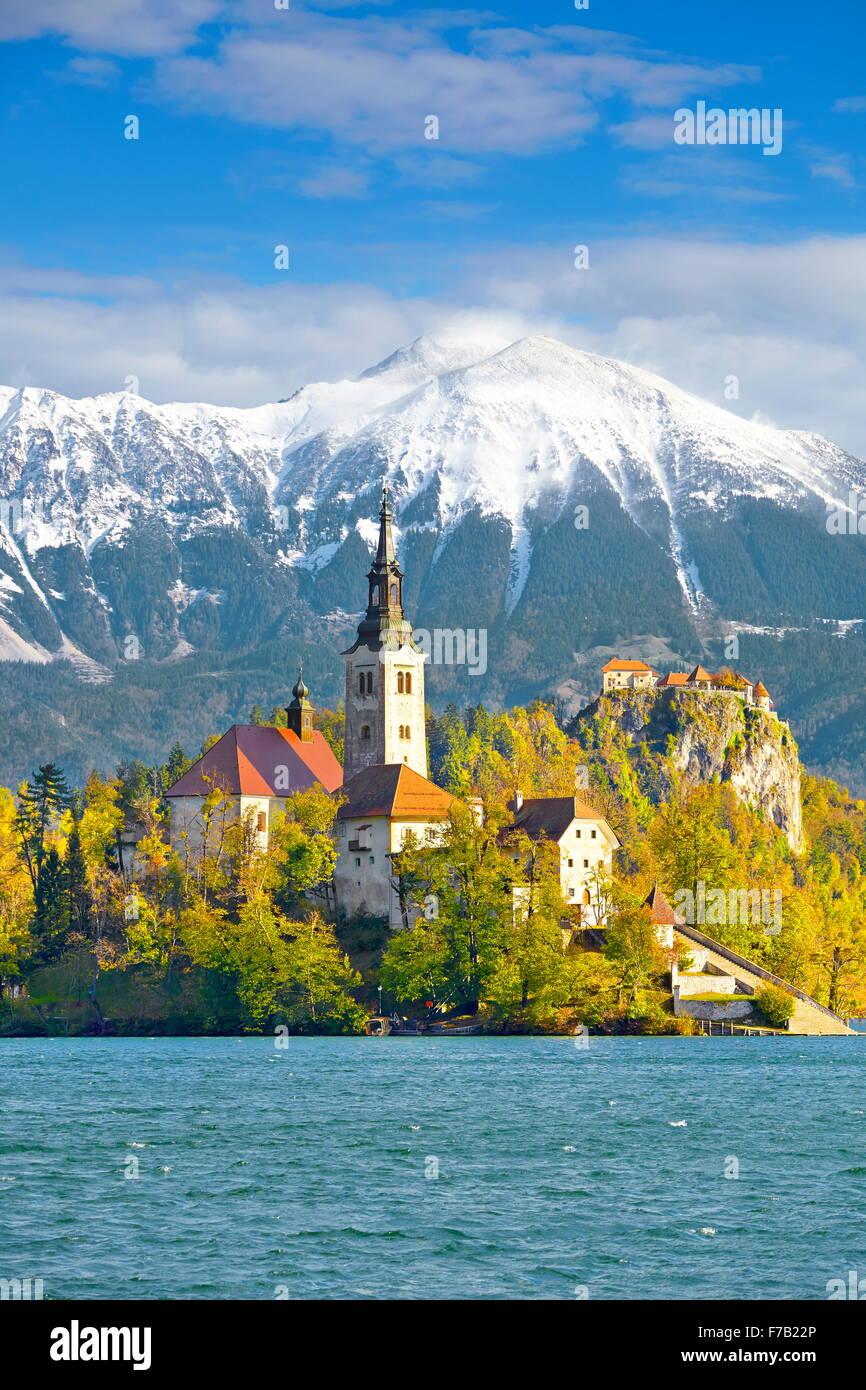Der See von Bled, Julische Alpen, Nationalpark Triglav, Slowenien Stockfoto