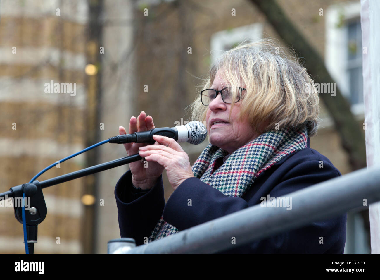 London, UK. 28. November 2015. Lindsey Deutsch, Obmann des stoppen der Kriegskoalition, Adressen, die der Protest Stockbild