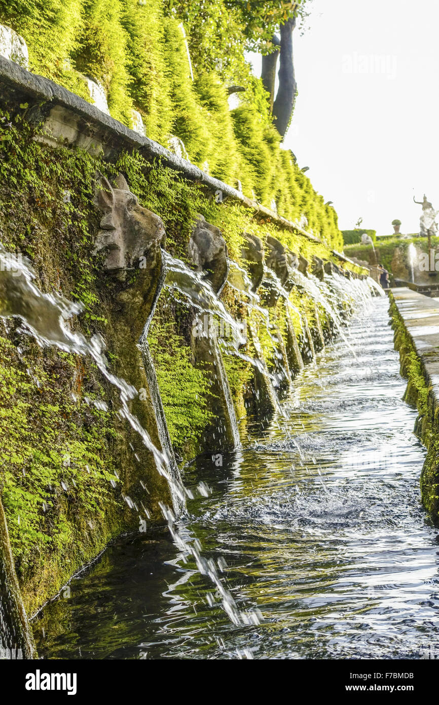 Wasserorgel, Villa d Este, Tivoli, Latium, Italien, UNESCO-Weltkulturerbe Stockbild