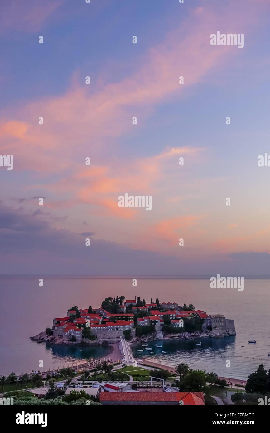Luxus-Tourismus-Ressort, Halbinsel Sveti Stefan, Montenegro, Sveti Stefan Stockbild