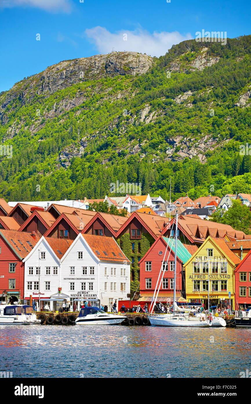 Hölzerne Hallen, Bryggen, Bergen, Norwegen Stockbild