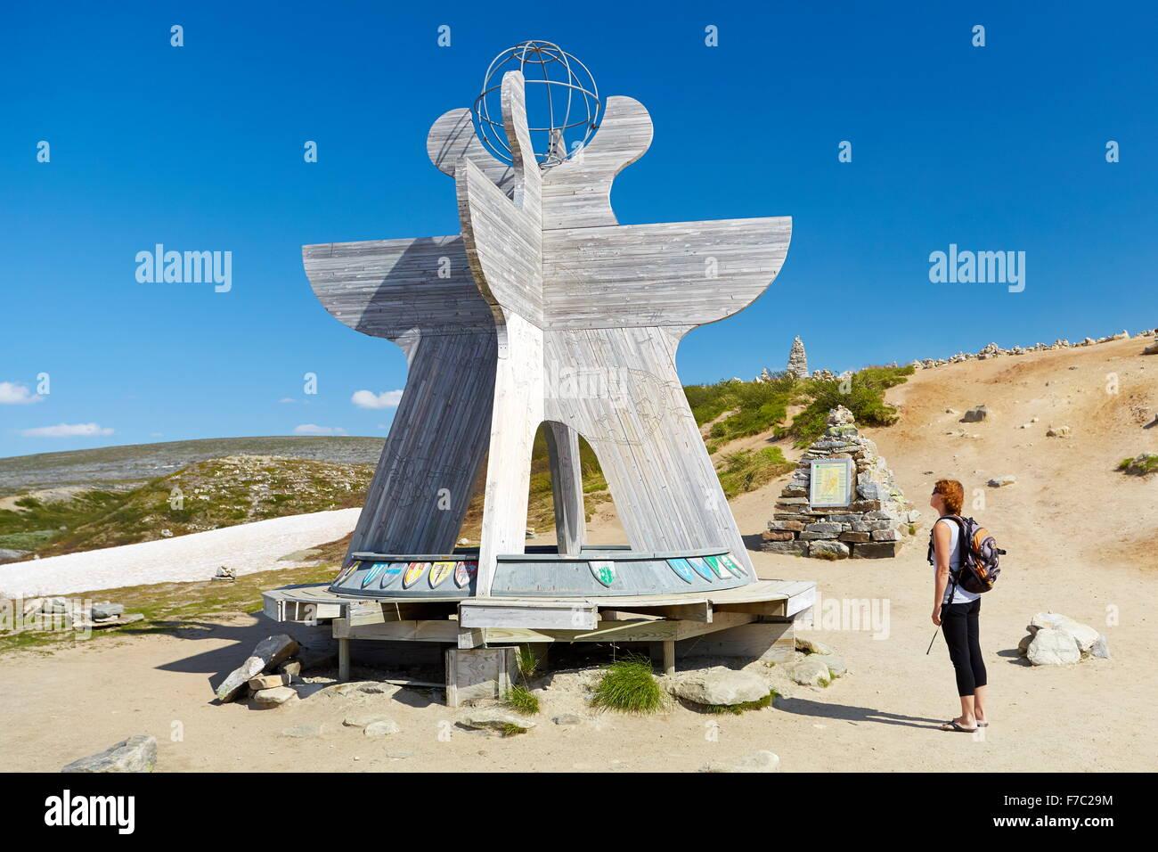 Grenze der Polar Polarkreis Saltfjell, Norwegen Stockbild