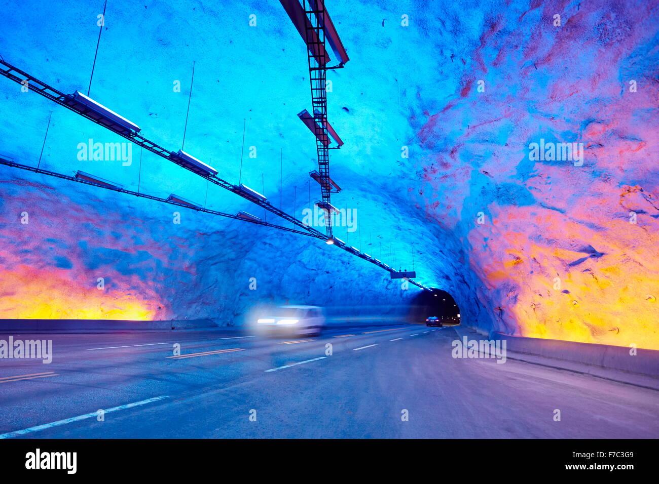 Laerdal Tunnel, Laerdalstunnelen (die weltweit längste 24,5 km) Aurland, Norwegen Stockfoto