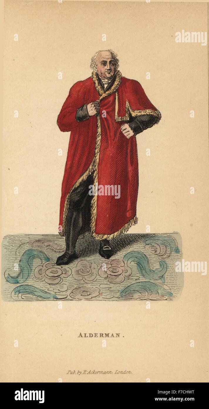 Stadtrat von London in scharlachroten Roben getrimmt mit Fell (von Saint-Michel zu Pfingsten getragen), 19. Jahrhundert. Stockfoto