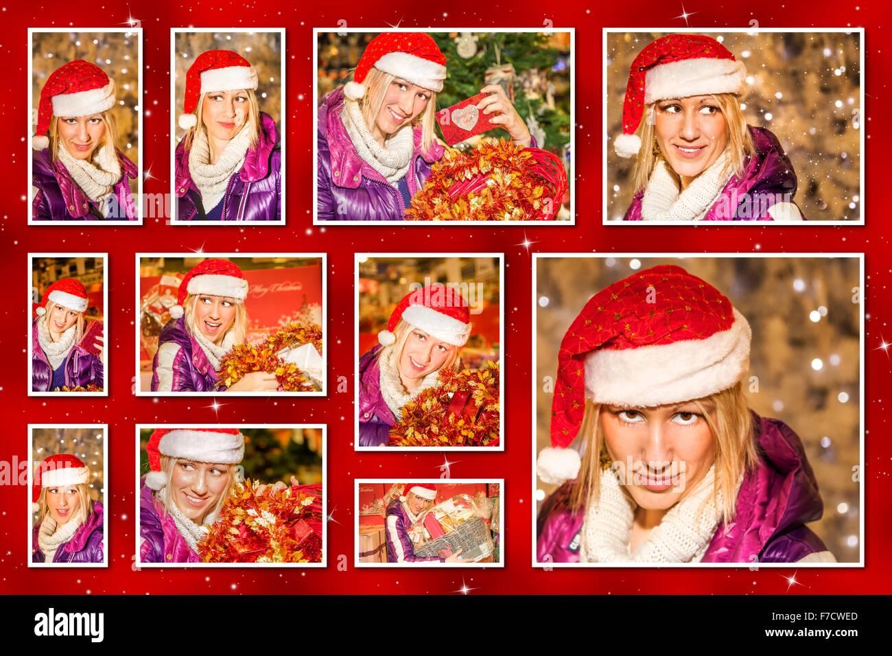 Weihnachtsbilder Für Frauen.Collage Woman Shopping Bags Stockfotos Collage Woman Shopping Bags