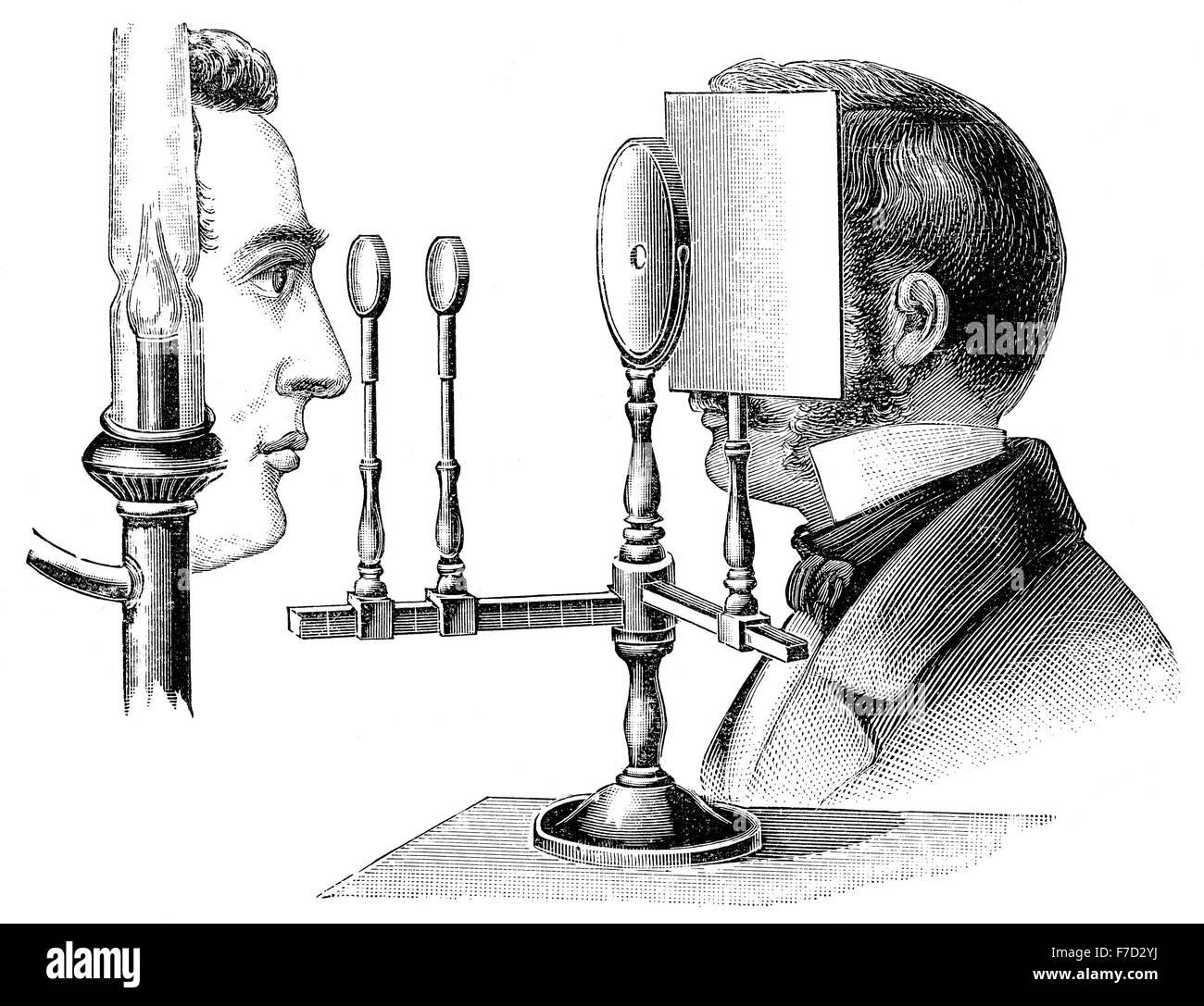 Ophthalmoskop, Funduscope, innerhalb der Fundus des Auges, Hermann Ludwig Ferdinand von Helmholtz, 1821-1894, Deutsche Stockbild