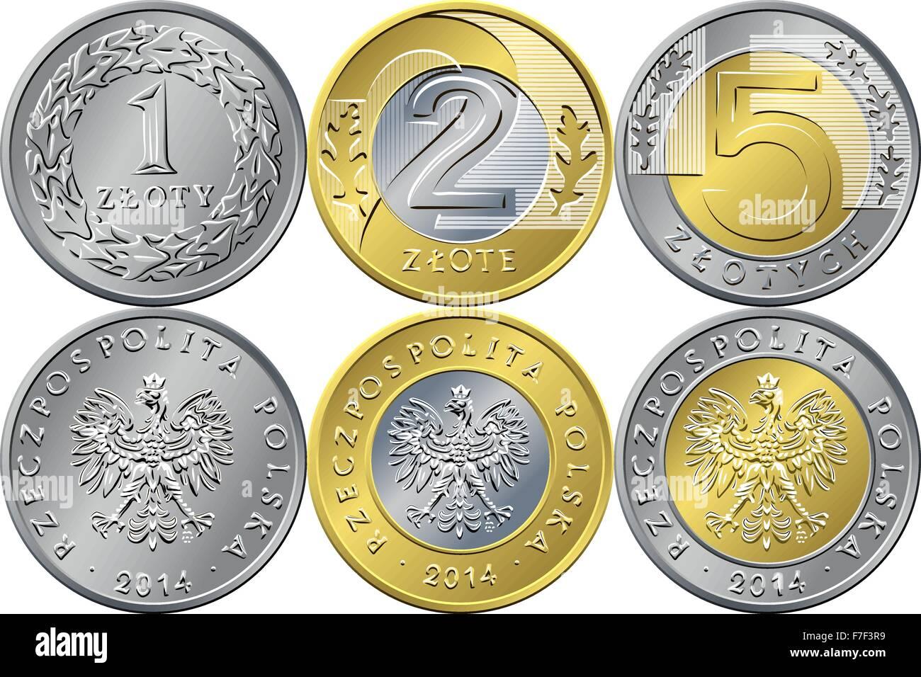 Eingestellte Polnische Geld Eins Zwei Und Fünf Złoty Münzen Vektor