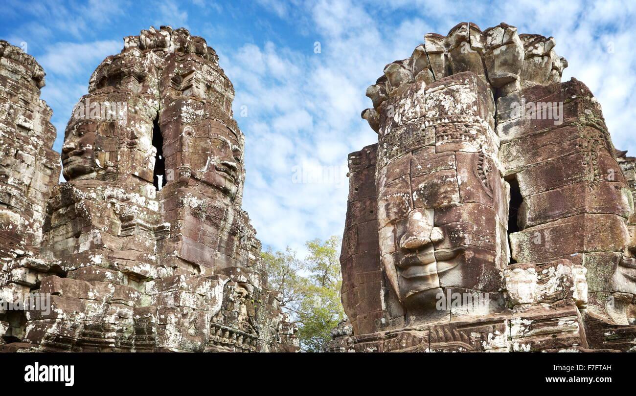 Gesichter der Bayon-Tempel, Angkor Thom, Kambodscha, Asien Stockbild