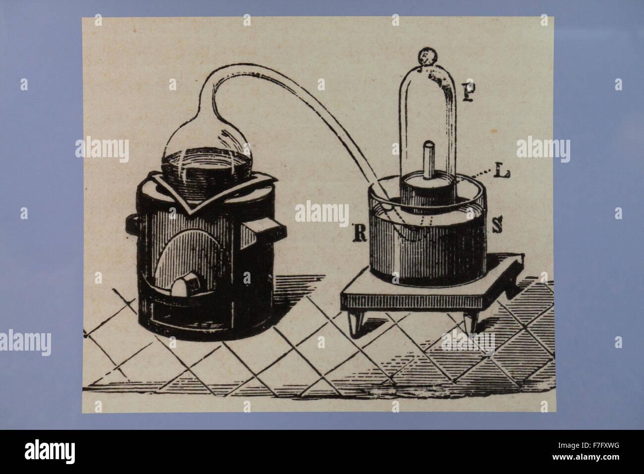 Illustration der Retorte und Glasglocke in der Chemie, ca. 1897 Stockbild