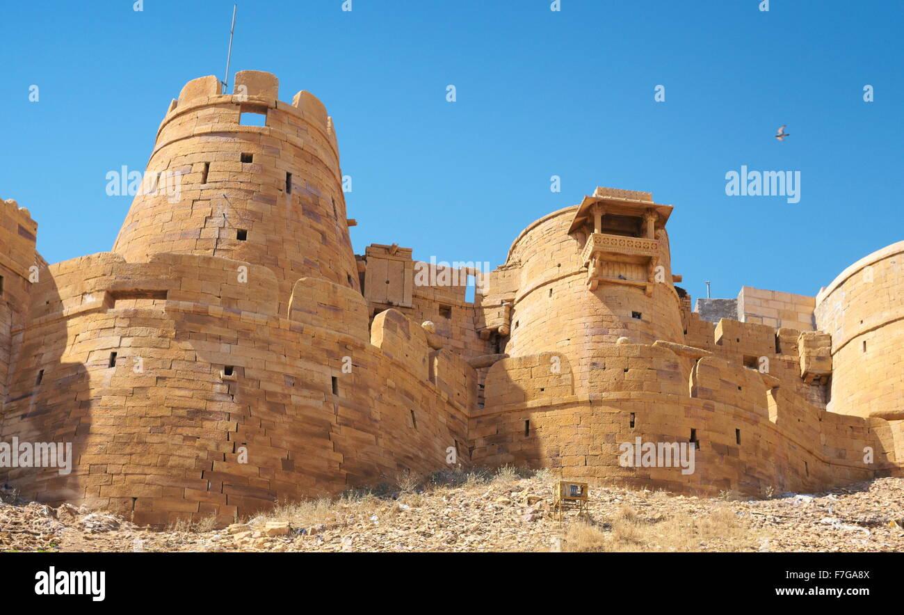 Außenansicht von Jaisalmer Fort, Jaisalmer, Rajasthan, Indien Stockbild