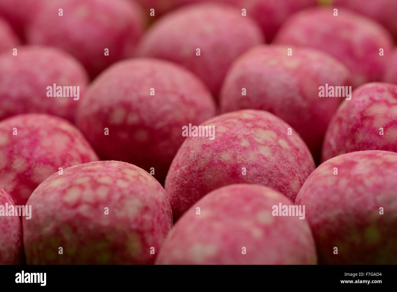 Rosa Bonbons closeup Stockbild