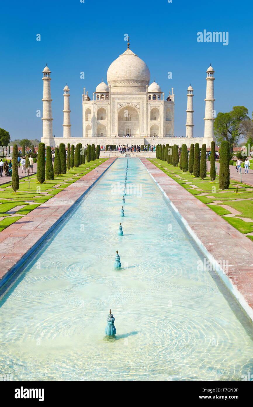 Taj Mahal Vorderansicht, Agra, Uttar Pradesh, Indien Stockbild