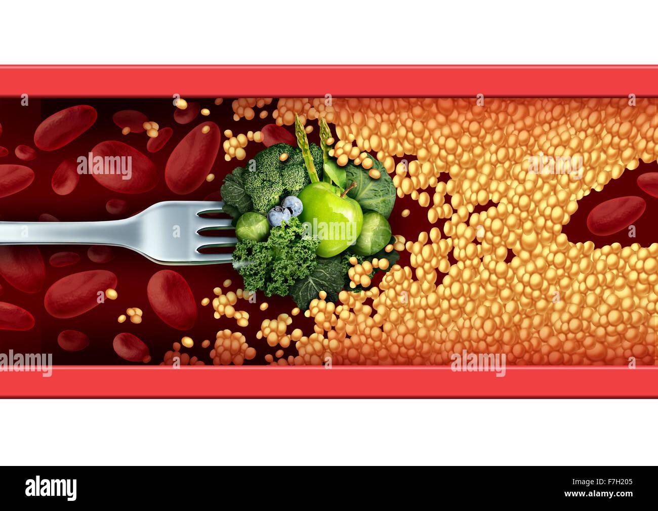 Essenskonzept Medizin und natürliche Heilmittel und Heilmittel als eine Gabel mit grünem Gemüse und Stockbild