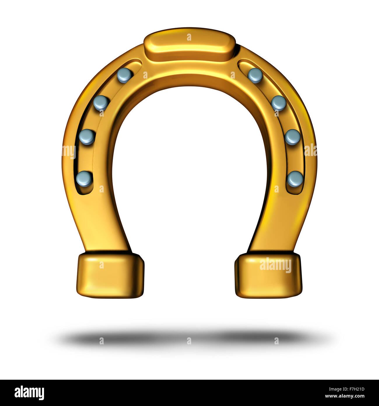 Hufeisen-Symbol oder Pferd Schuh-Symbol als Glücksbringer als goldene Metall Objekt als Metapher für Reichtum Stockbild