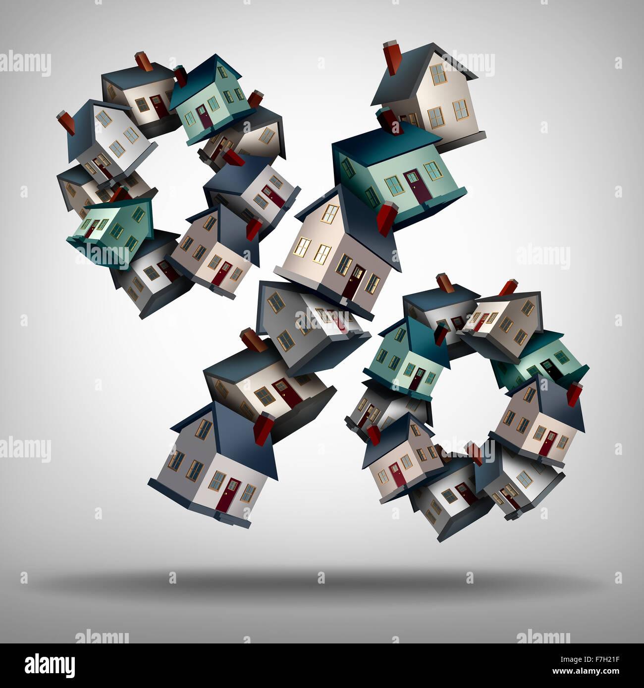 Nach Hause Hypothekenzinsen Konzept und Zinssatz Symbol als eine Gruppe von Wohnungen oder Häusern geprägt Stockbild