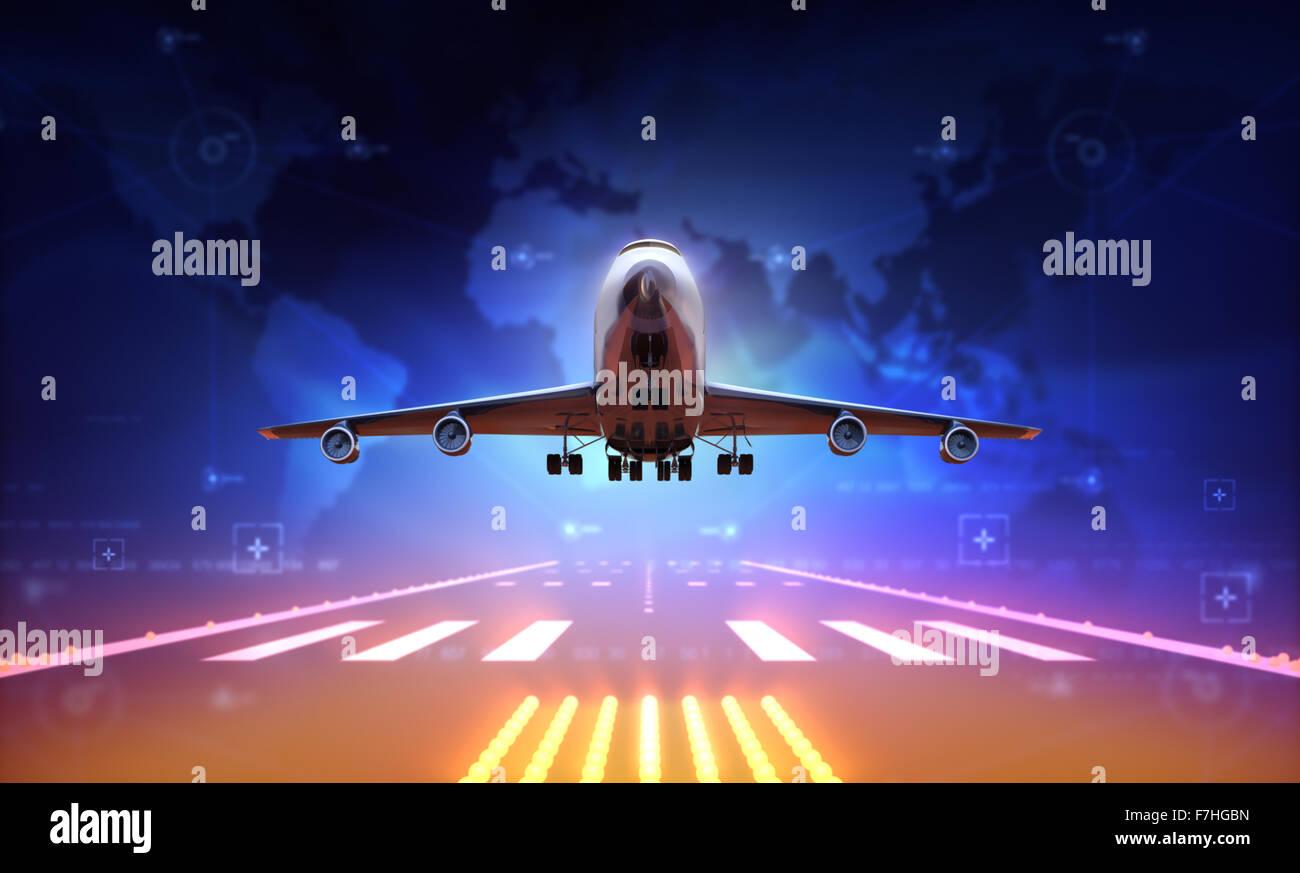 3D Flugzeug über Start-und Landebahn Stockbild