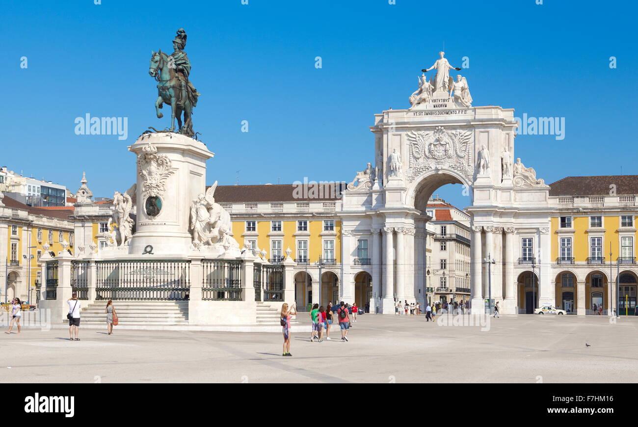 Lissabon - Commerce Platz (Praça Do Comercio), Lissabon, Portugal Stockbild