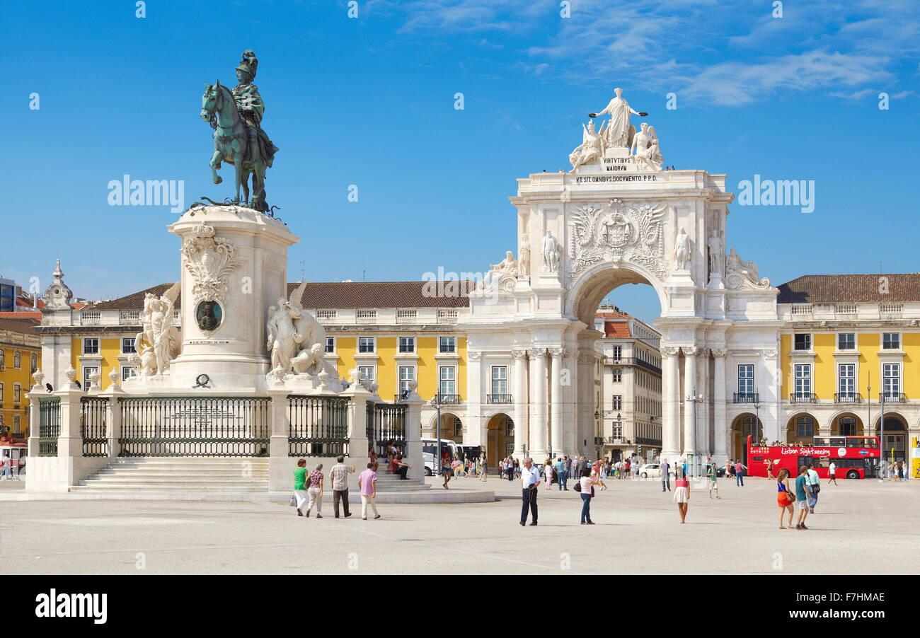 Commerce Square (Praça Do Comercio), König José Denkmal, Lissabon, Portugal Stockbild