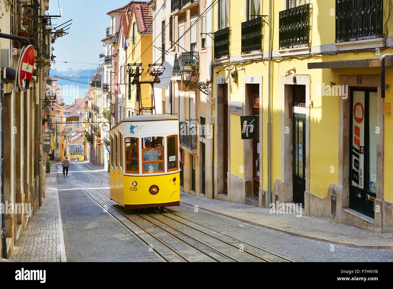 "Lissabon Straßenbahn, ""Elevador da Bica"" Portugal Stockbild"