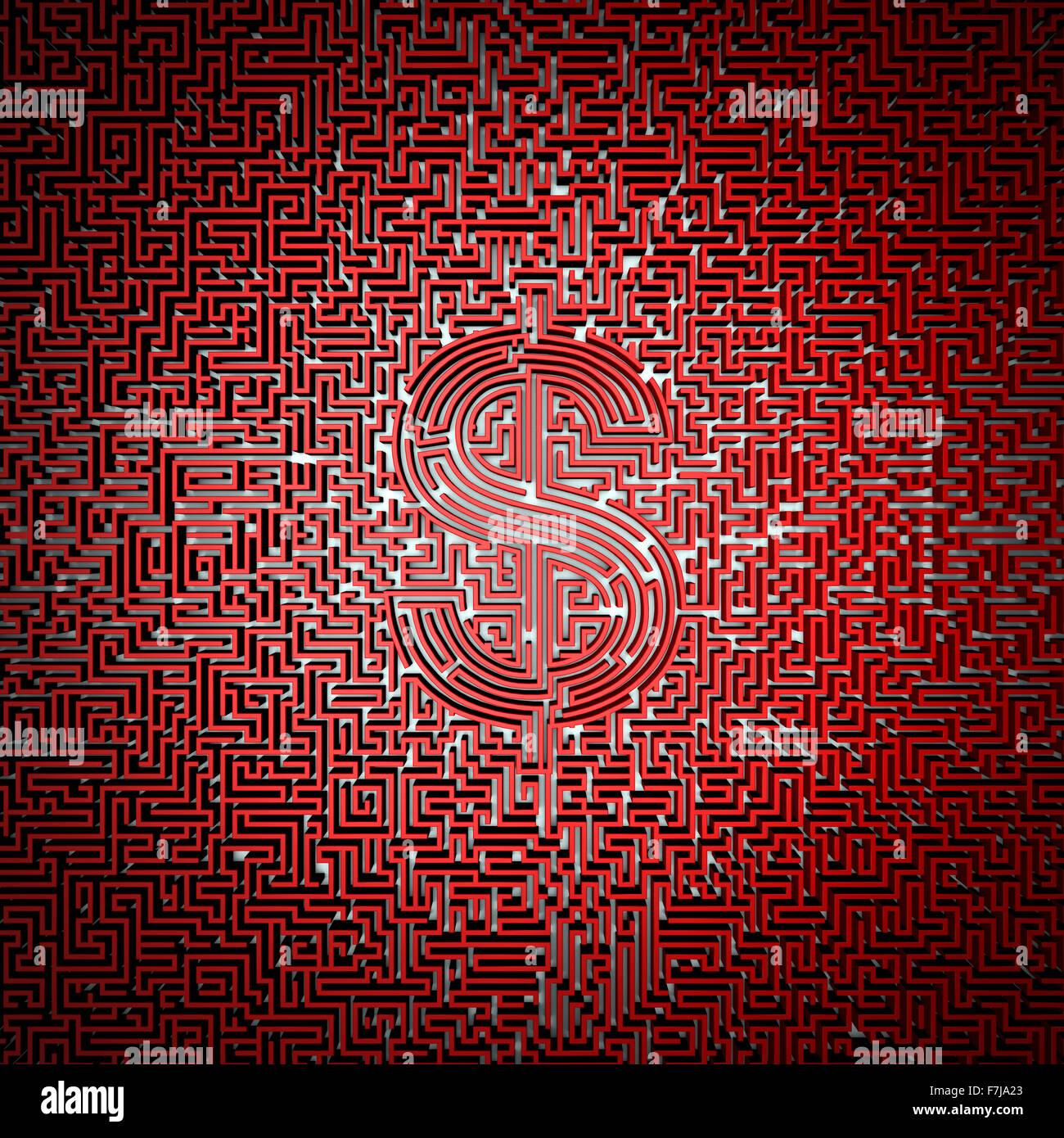Ultimative Dollar Labyrinth / 3D-Render des Riesen-Labyrinth mit Dollar-Symbol im Zentrum leicht zu kolorieren Stockbild