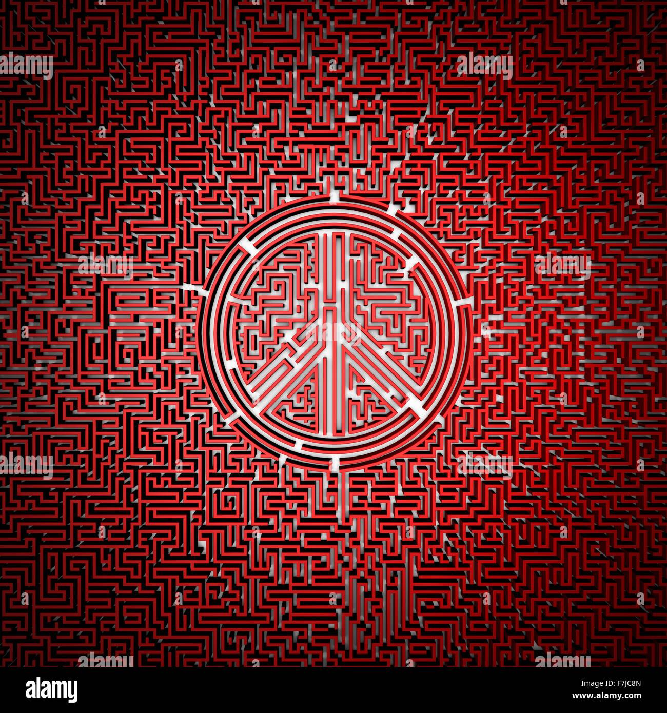 Ultimative Ruhe Labyrinth / 3D-Render des Riesen-Labyrinth mit Friedenssymbol in Mitte, leicht zu kolorieren Stockbild