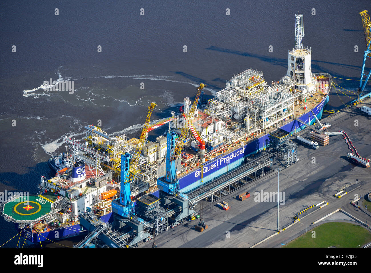 Eine Luftaufnahme des Schiffes Enquest Produzent, Öl und Gas Stockbild
