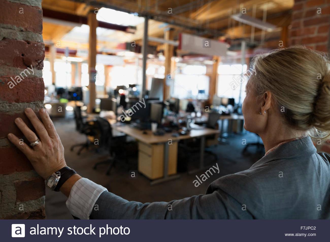 Geschäftsfrau mit Blick auf OpenOffice Stockbild