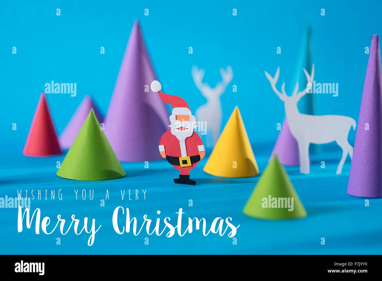 Frohe Weihnachten 3d.Frohe Weihnachten Bütten Schnittformen Santa Und Hirsch Mit Bunten