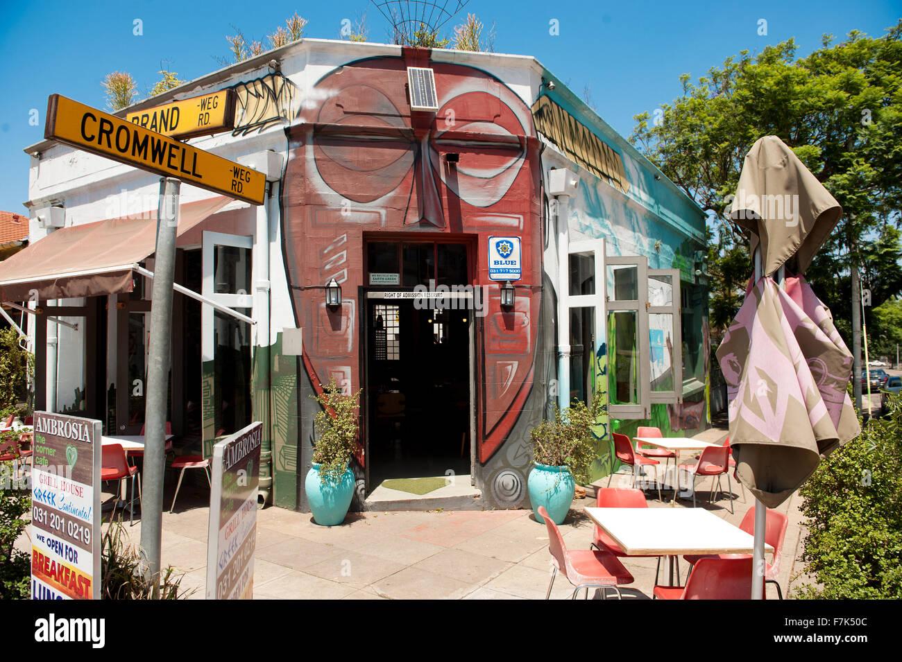 Eine Straße Café im Stadtteil Glenwood von Durban.  Trendige Cafés in städtischen Südafrika. Stockbild