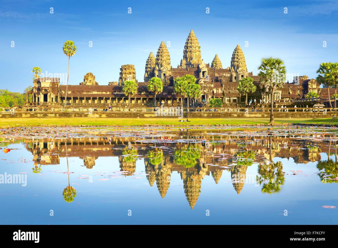 Angkor - monumentale Stadt, die nach der alten Hauptstadt des Khmer-Reiches, Kambodscha, Angkor Wat Tempel, Asien Stockbild
