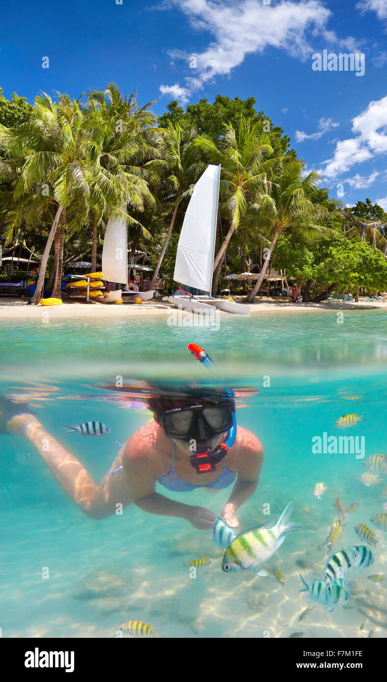 Tropische Unterwasserwelt Meerblick auf Schnorcheln Mädchen, Ko Samet Insel, Thailand, Asien Stockbild