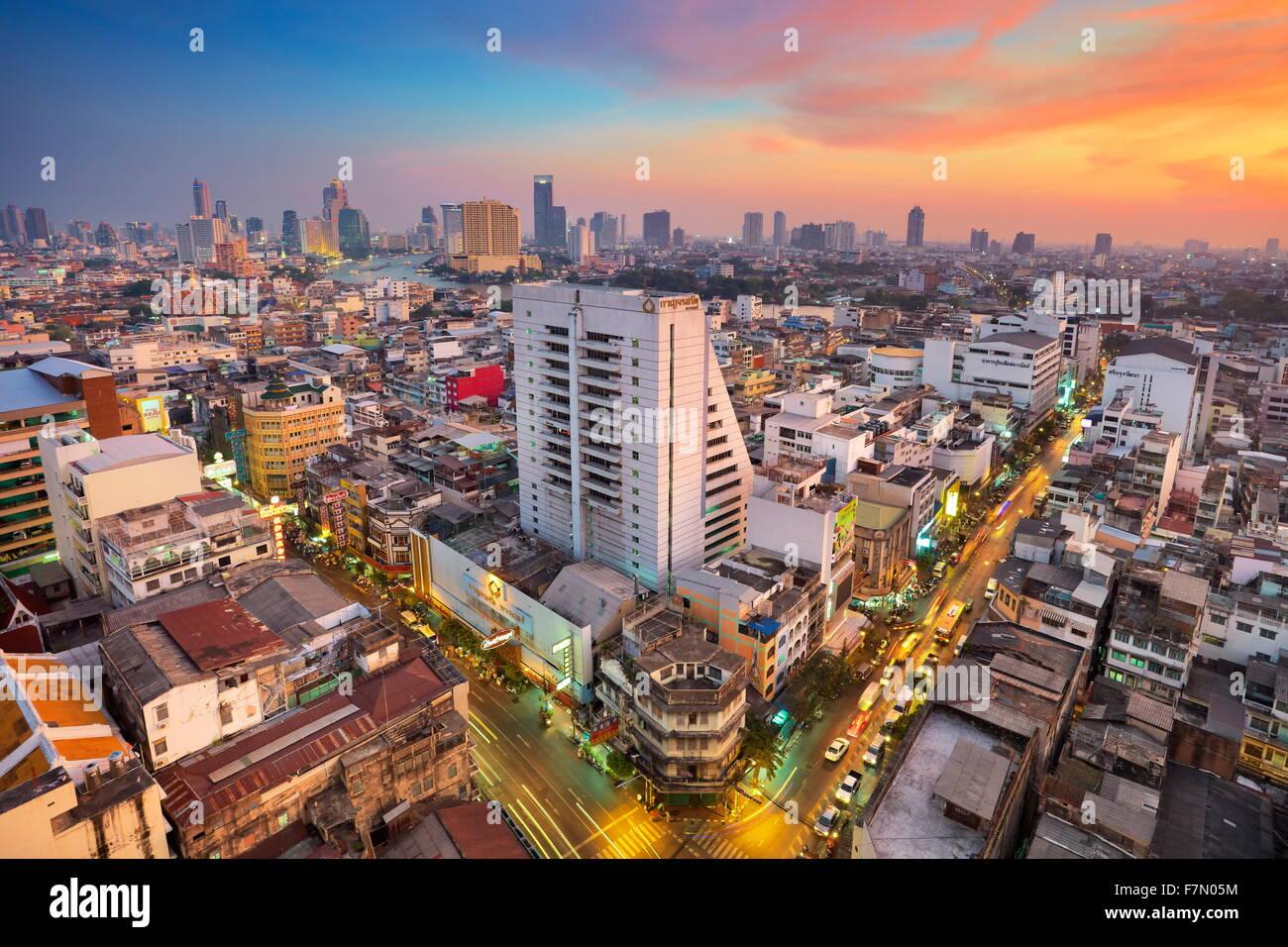 Thailand - Bangkok Stadtbild bei Sonnenuntergang, Bangkok Stockbild