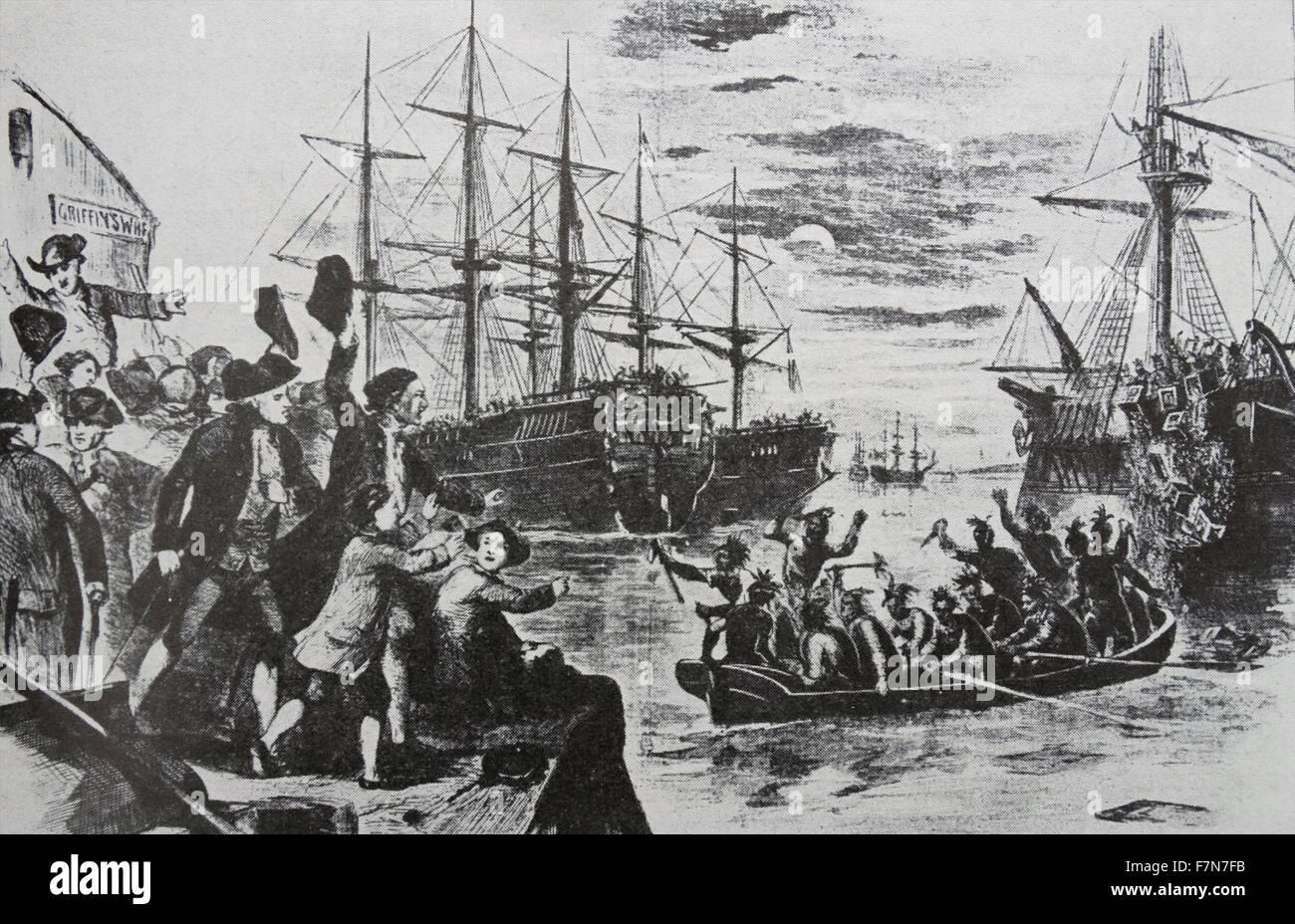 Kolonisten In Boston Protestierten Gegen Den Stamp Act Als Indianer Verkleiden Und Kisten Tee Uber Bord Zu Werfen Dies Wurde Die Tea Party