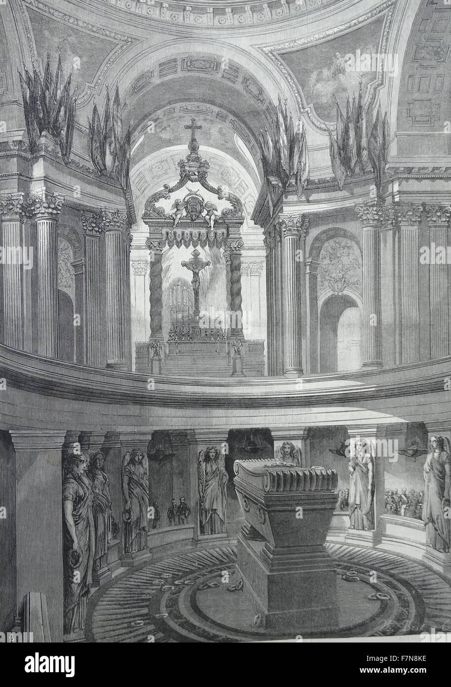 Abbildung zeigt das Grab des Napoléon Bonaparte (1769-1821) innerhalb des Invalides, Frankreich. Datierte 1822 Stockbild