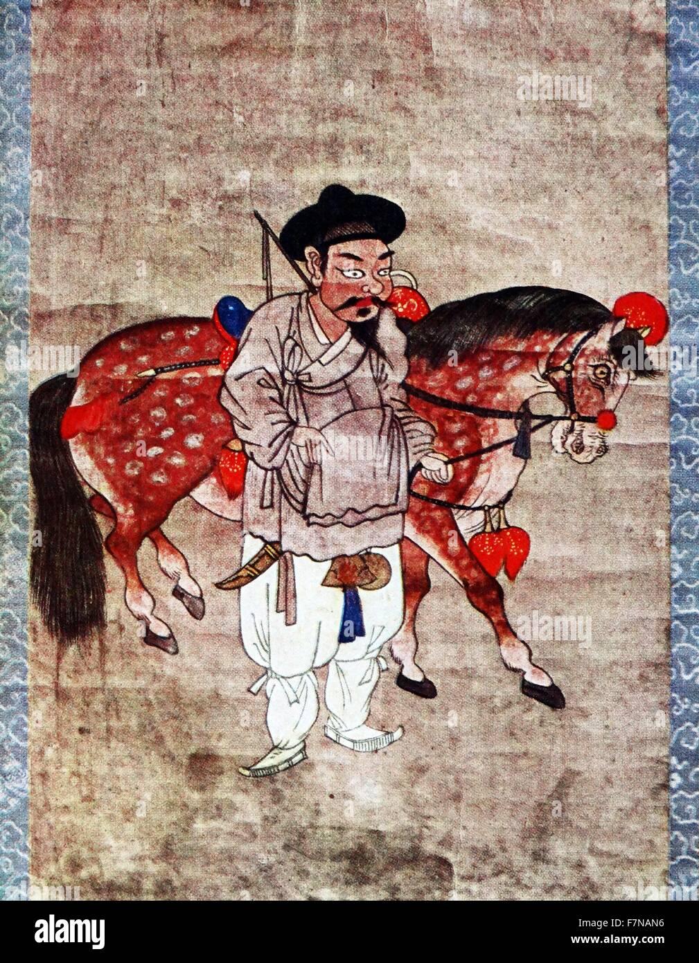 17 Jahrhundert Bild Architektur: Koreanische Gemälde, Einen Bauer Sein Pferd Führen; 17