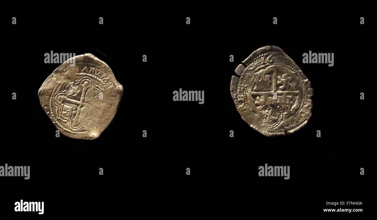 Silber 8 Reales Münze Der Herrschaft Von König Philip Iv Von Spanien