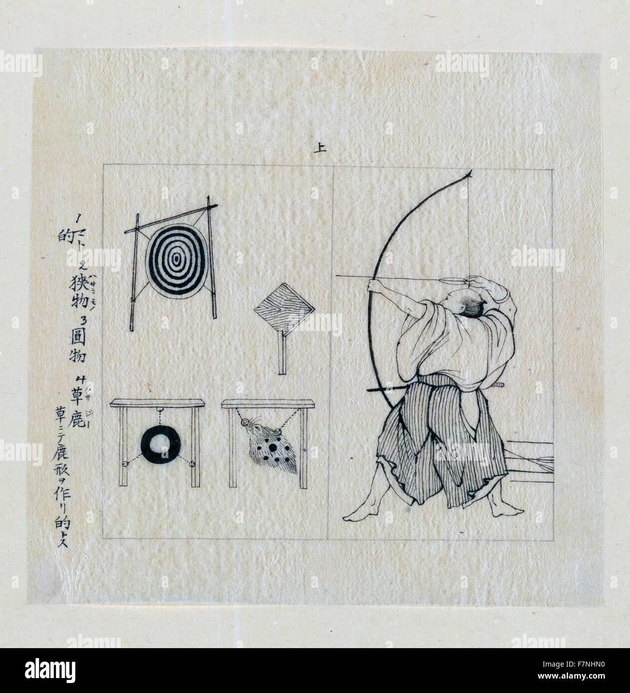 Krieger, Album, nach links, mit Bogen gezeichnet, etwa zu einem ...