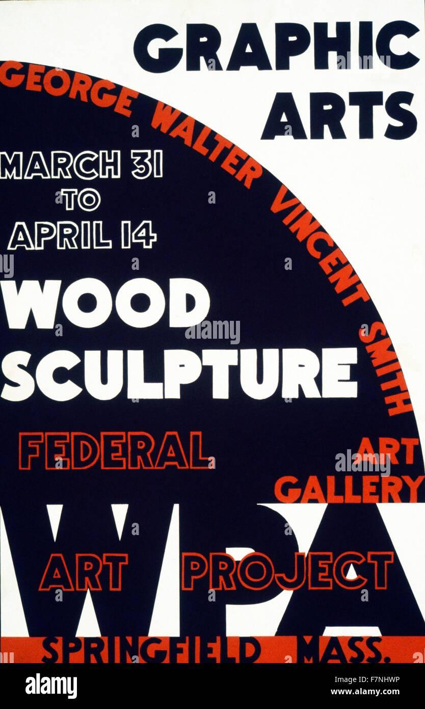 Graphic Arts - Holz Skulptur, George Walter Vincent Smith Kunstgalerie, Springfield, Massachusetts Federal Art Project, Stockbild