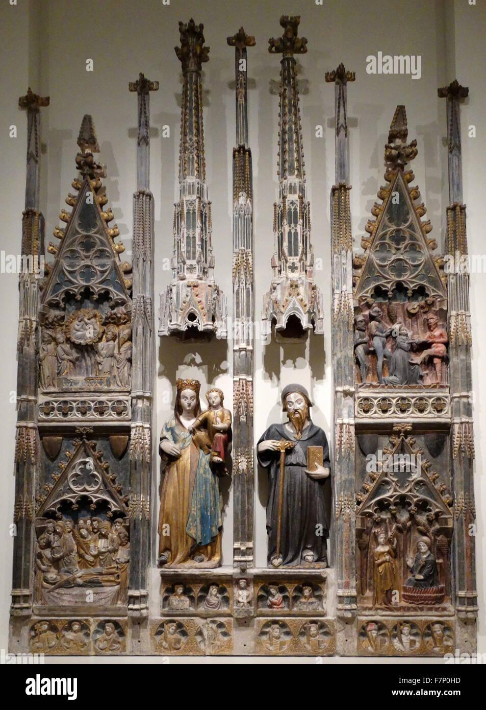 Entlastung von der Jungfrau Altarbild von Master Albesa. Vom 14. Jahrhundert Stockbild