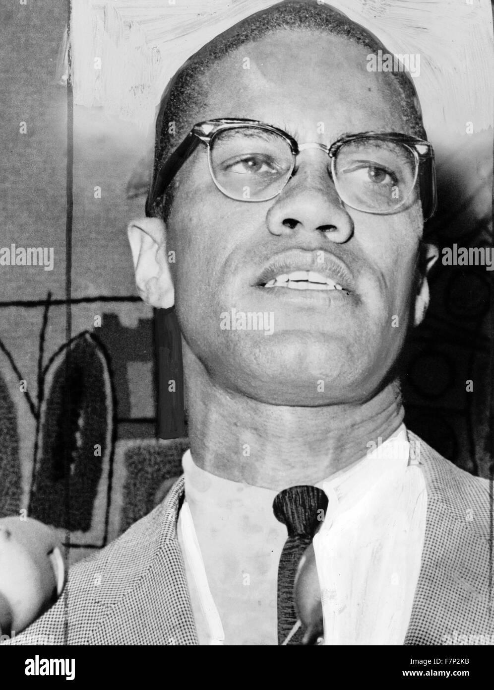 Malcolm X (1925 – 1965), geboren Malcolm Little. Amerikanischen muslimischen Minister und Menschenrechtsaktivistin. Stockfoto