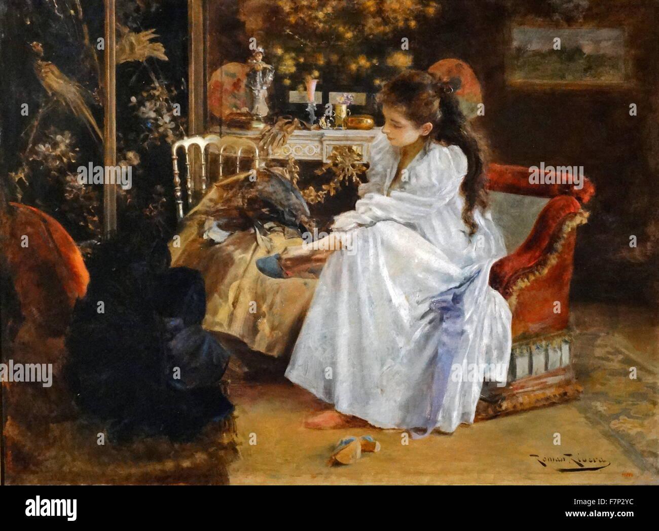 """Gemälde mit dem Titel """"The Soirée"""" von katalanischen Maler Romà Ribera (1849-1935). Vom Stockbild"""