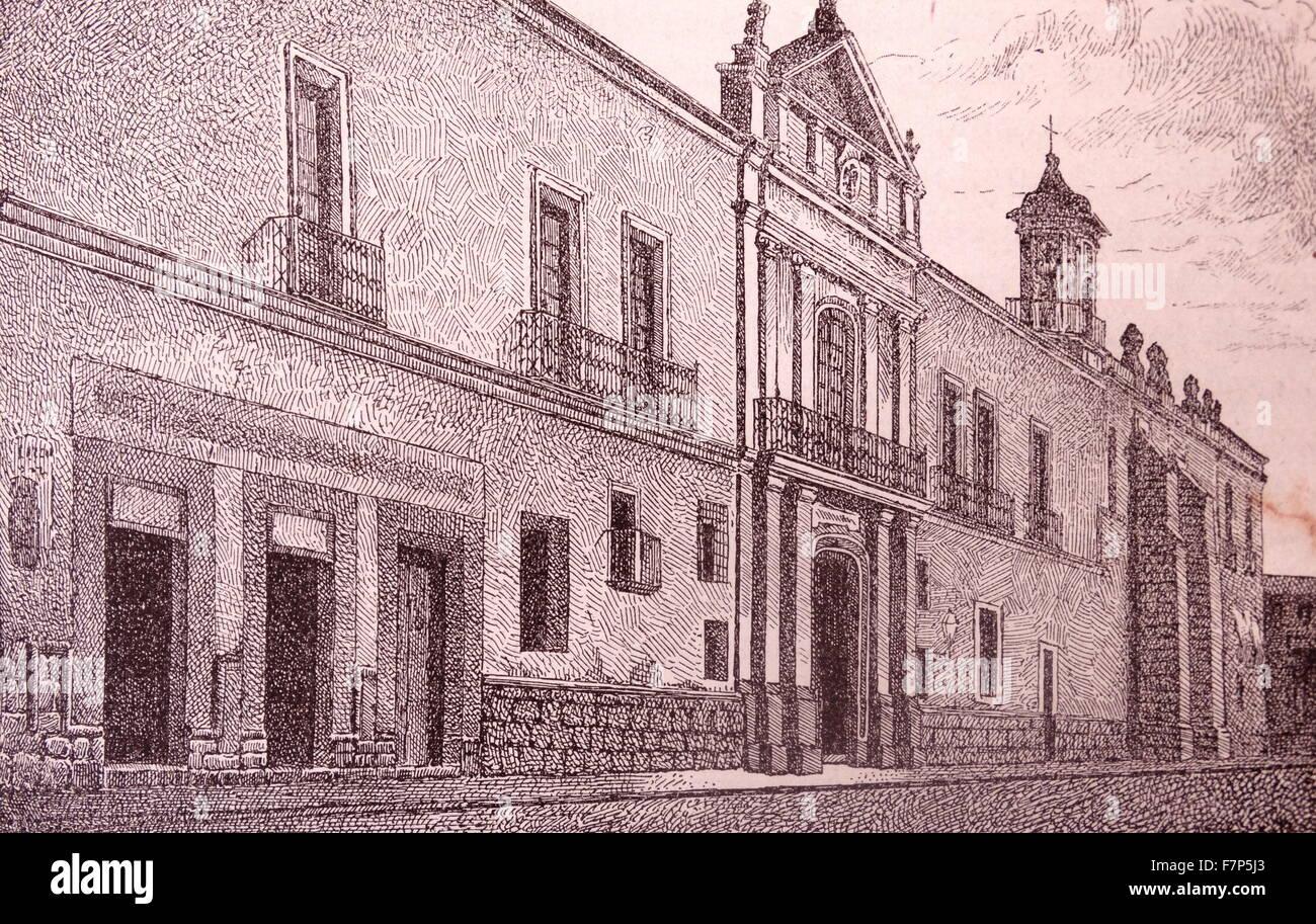 Universität von Mexiko des 19. Jahrhunderts drucken Stockbild
